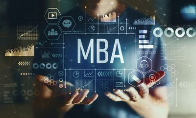 Torso of Man in Blue T-Shirt Holding a Graphic With MBA-Related Images That Fills the Overall Image