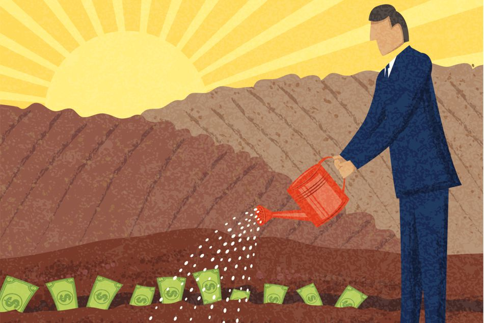 Businessman Watering His Money In The Field. Growth concept.