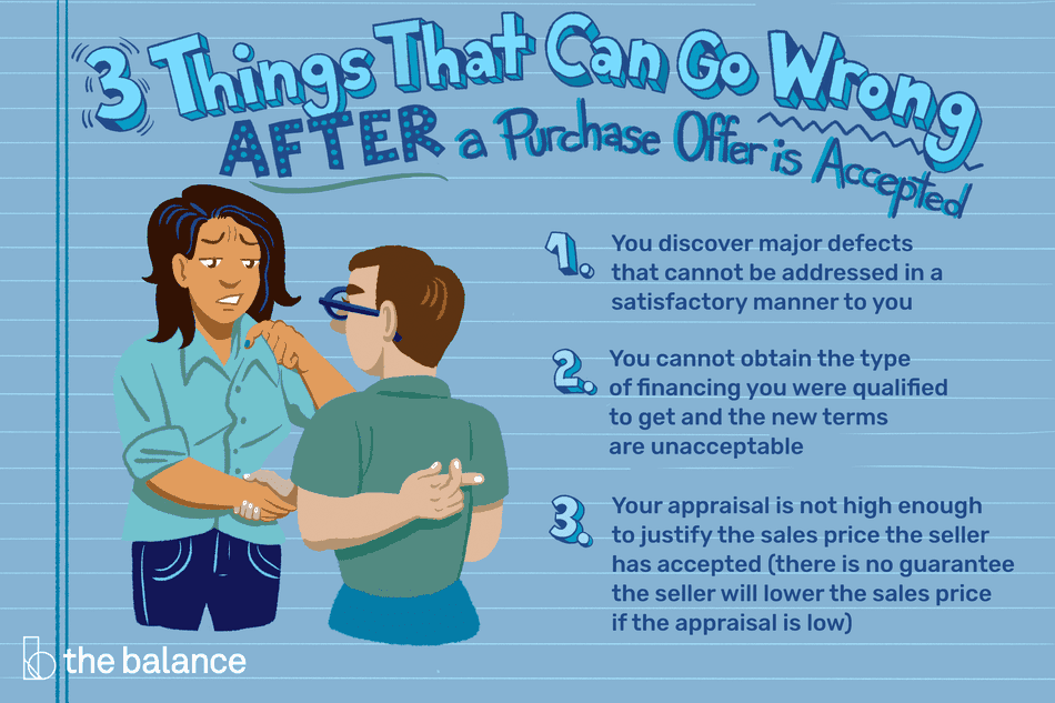 "Image shows two people shaking hands, the woman looking skeptical and the man has his fingers crossed behind his back. Text reads: ""3 things that can go wrong after a purchase offer is accepted: 1) You discover major defects that cannot be addressed in a satisfactory manner to you. 2) You cannot obtain the type of financing you were qualified to get and the new terms are unacceptable. 3) Your appraisal is not high enough to justify the sales price the seller has accepted (there is no guarantee the seller will lower the sales price if the appraisal is low)"""
