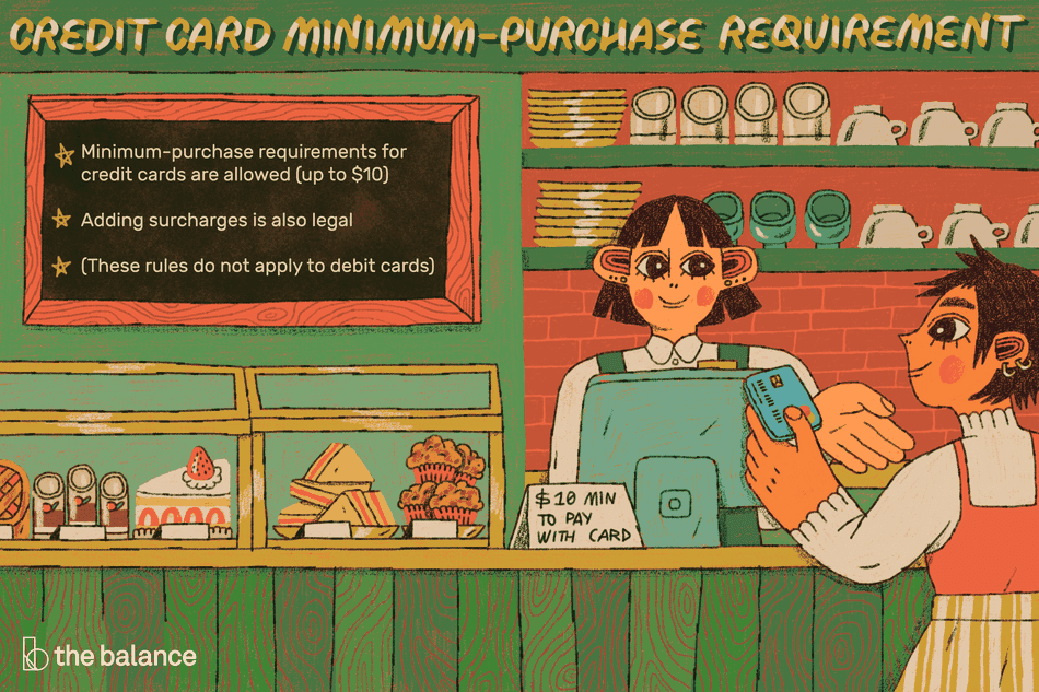 "This illustration describes credit card minimum-purchase requirement including ""Minimum-purchase requirements for credit cards are allowed (up to $10), ""Adding surcharges is also legal,"" and ""(These rules do not apply to debit cards)."""
