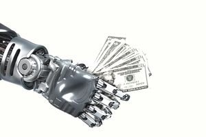 A robot hand holding money representing mutual fund fees.