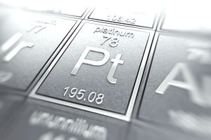 Periodic table focused on the chemical element Platinum