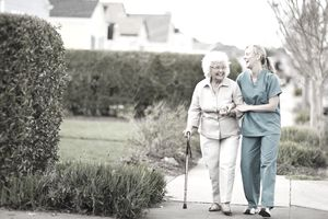 Senior woman using long-term care benefits.