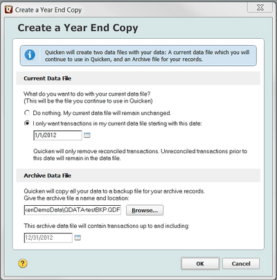 Using Quicken's 'Archive' Command and Year End Options