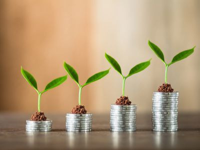 Seedlings on top of stacks of coins from shortest to tallest, representing growing your savings.