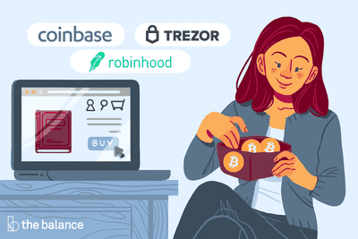 Image shows a woman putting bitcoins in her wallet. Next to her is her computer where she is making a purchase; indicating she was online shopping with bitcoins. Above the computer are the logos for Coinbase, Trezor, and Robinhood