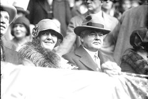 President Herbert Hoover and his wife, Lou Henry Hoover, in Chicago at the final game of the 1929 World Series between the Chicago Cubs and the Philadelphia Athletics, October 1929. The Great Depression had already begun.