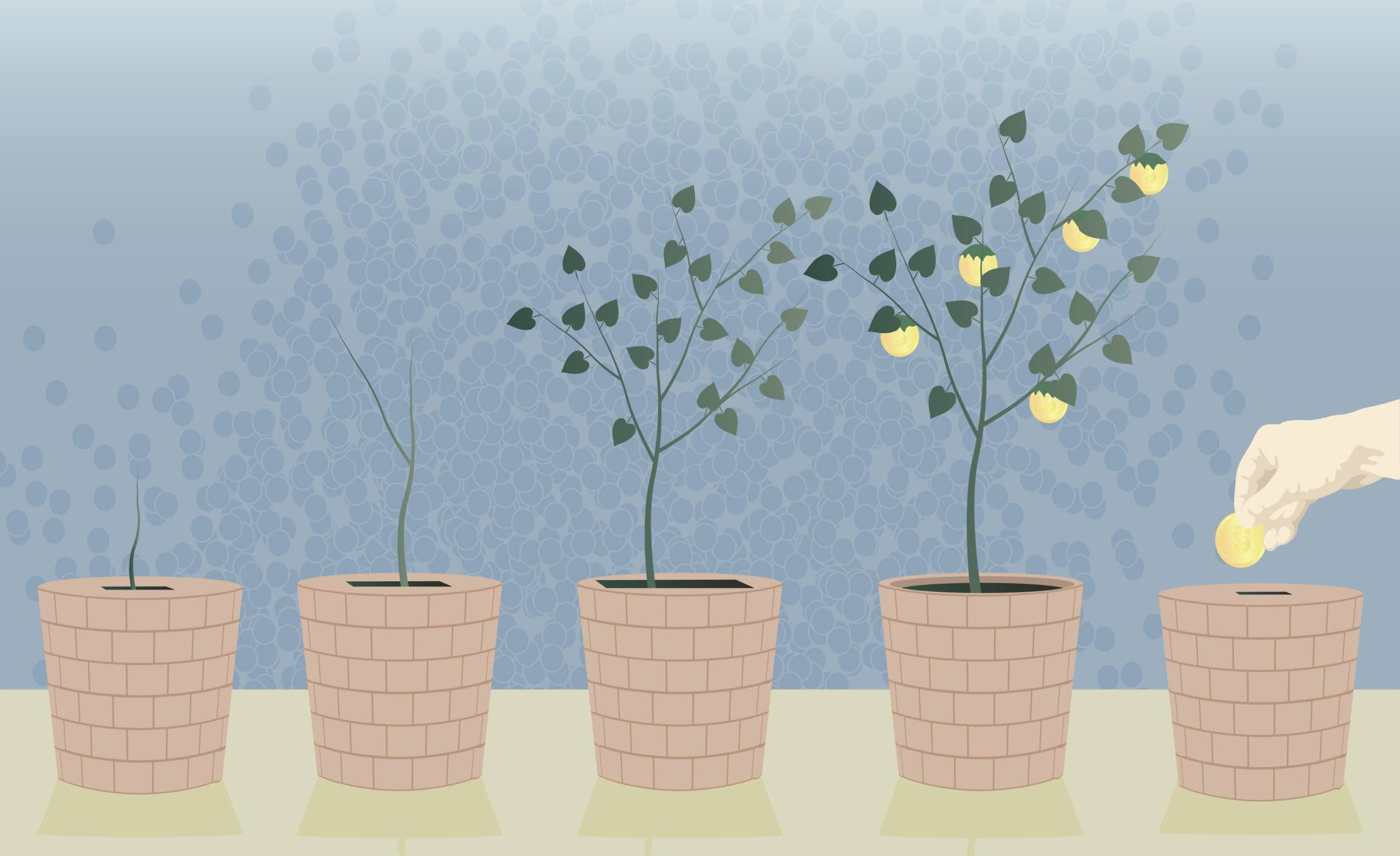 Illustration of a seedling at different stages in different pots, and one pot with a hand putting a seed in it