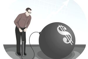 Cartoon figure uses a bicycle pump to overvalue a stock