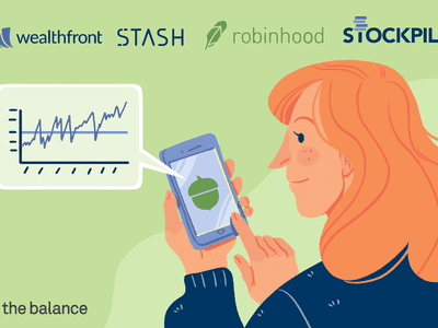 Image shows a woman on a smartphone with an acorn on the screen to represent the Acorns app. It is showing her a chart. On the top of the image are the logos for apps such as wealthfront, stash, robinhood, stockpile.