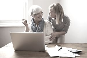 Two women on laptop