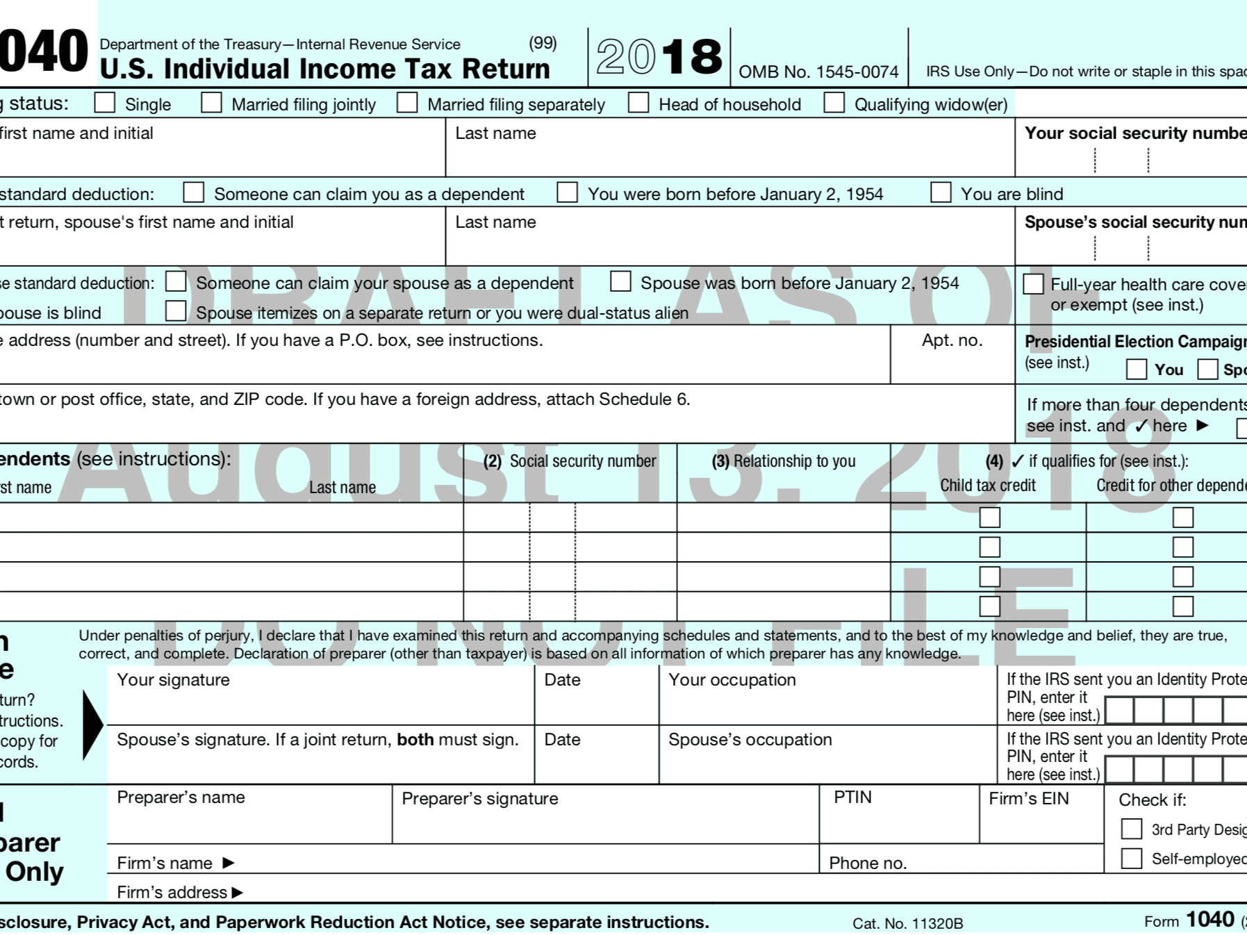 irs form 1040 for 2018  The New 15 Form 15