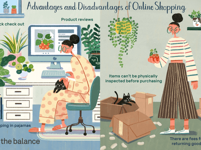 Illustration of the advantages and disadvantages of online shopping, as explained in article.