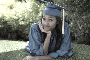 Girl in a cap and gown