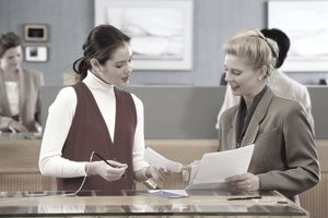 Women at a Bank