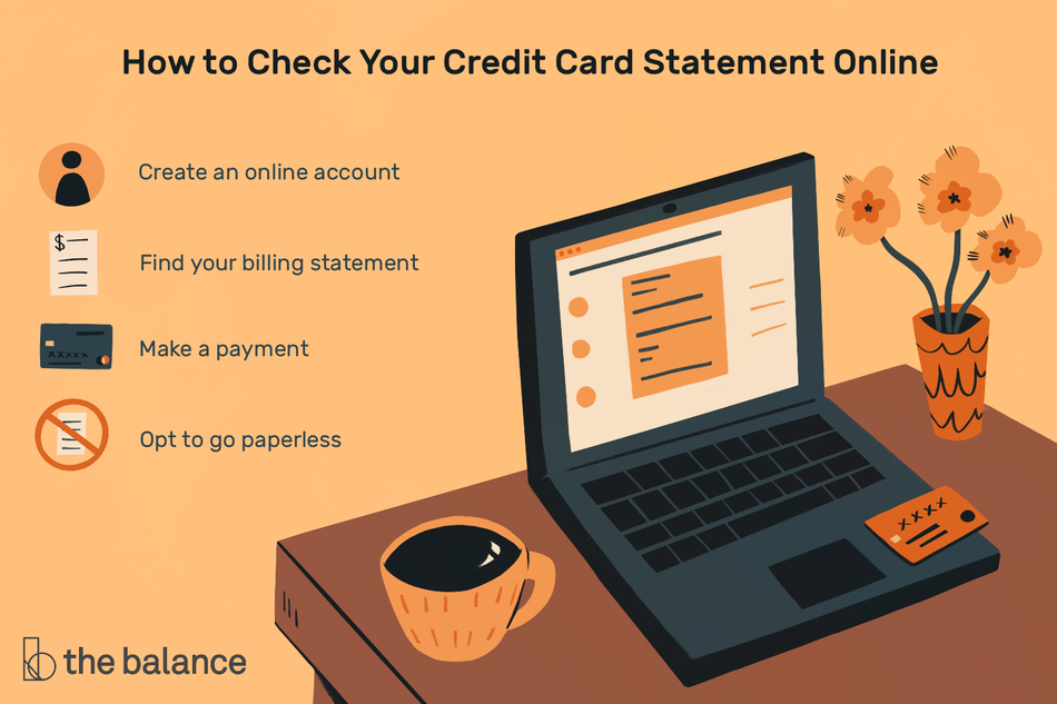 "Image shows a desk with a laptop, credit card, vase with flowers, and cup of coffee. Text reads: ""How to check your credit card statement online: create an online account; find your billing statement; make a payment; opt to go paperless"""