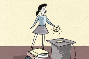 Illustration of a woman standing on school books and stowing money in a graduation cap