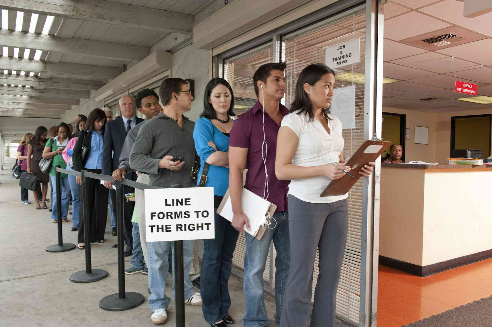 People standing in line at Job and Training Fair