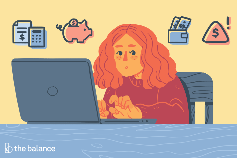 Image shows a girl typing on her laptop with various money iconography around her.