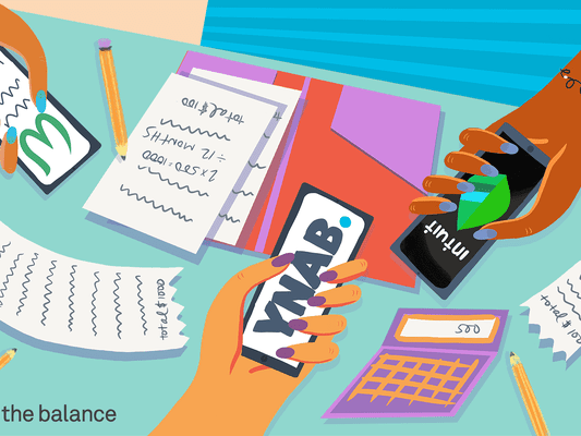 image shows three different hands holding smartphones with budgeting apps on the display page. The table is covered with receipts and calculators and pencils.
