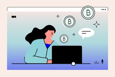 illustration of woman on laptop and bitcoin