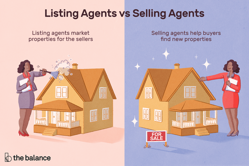"Image shows a split image. The first is a woman in a great suit dusting off a mini home. The next image shows a woman in a red suit showing a sparkling home with a for sale sign in front of it. Text reads: ""Listing agents vs. selling agents: listing agents market properties for the sellers. Selling agents help find new properties"""