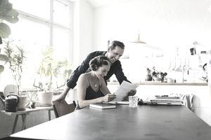 A couple looks over their FNMA loan documents.
