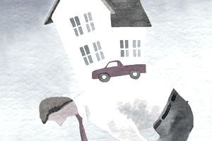 Illustration of man with home on his back
