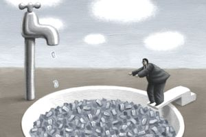 An illustration of person jumping into a pool of metaphorical liquidity