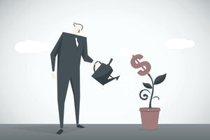 An illustration of a man watering a dollar sign-shaped plant
