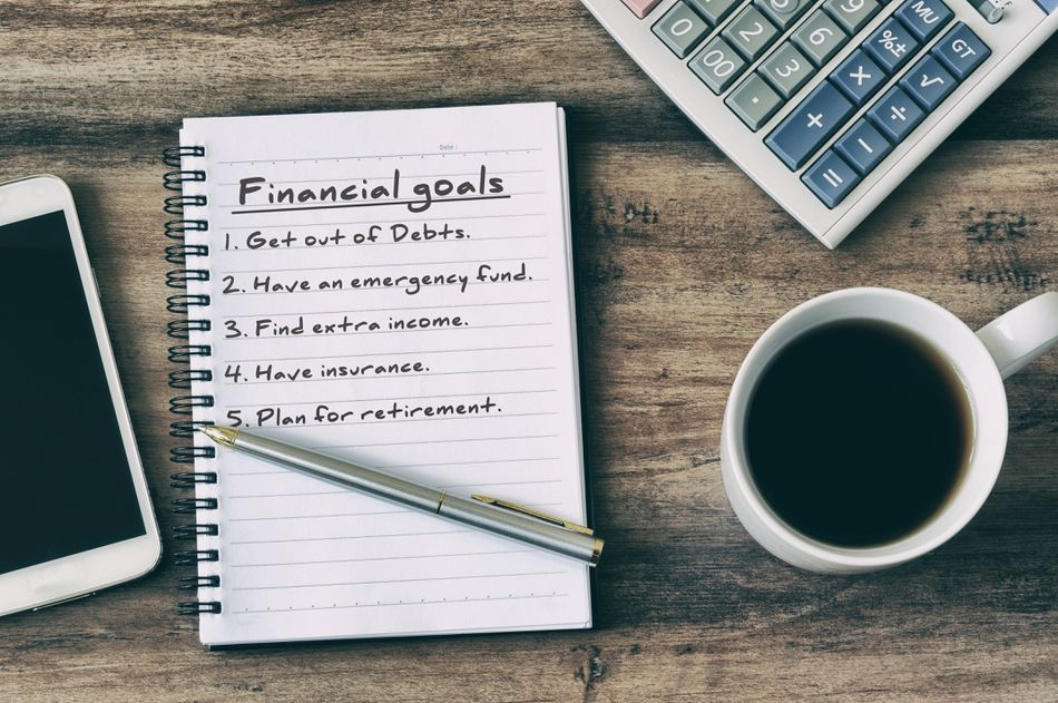 Financial Goals listed on Note Pad