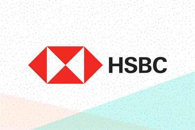 HSBC Bank logo on a multi-colored pastel and dots background.