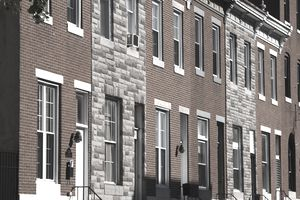 Row houses along Light Street in Baltimore, Maryland.