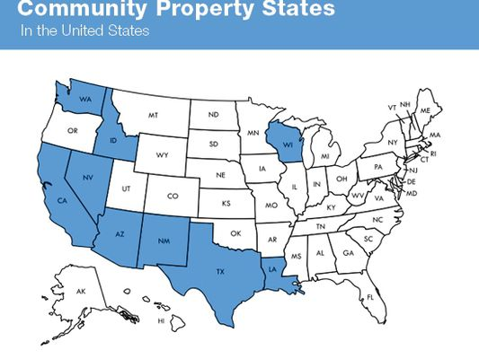 A map of the nine community property states in the United States of America.