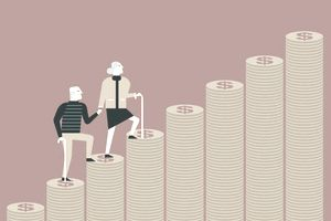 Elderly couple with canes climbing their way to retirement on their savings in the form of coins