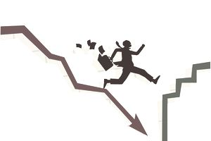 Illustration of a person jumping off a downward bankruptcy arrow onto a stable accending line.