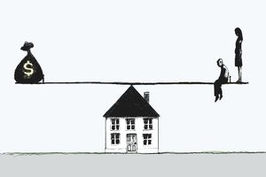 cartoon of a teeter-totter on top of a house signifies the weighing of paying off mortgage versus investing.