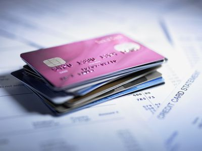 Close up of stack of credit cards