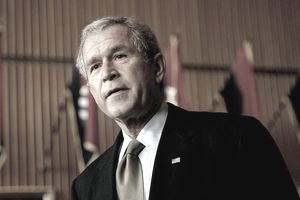 President George W. Bush at Walter Reed Army Medical Center
