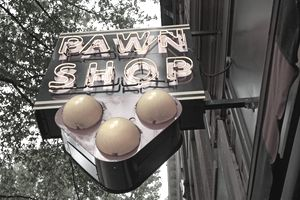 Pawn shop sign in neon.