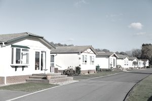 A row of residential mobile park homes