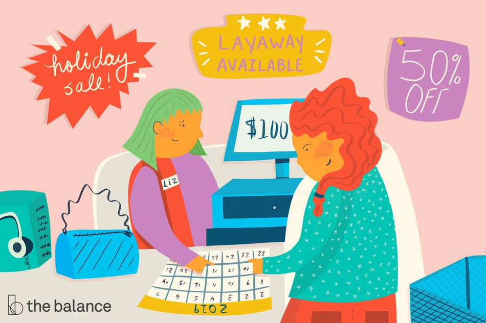 This illustration shows a woman scheduling a pickup at a department store after putting an item on layaway.