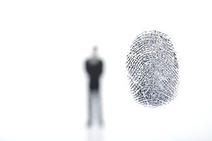 Silhouette of person and fingerprint on white background