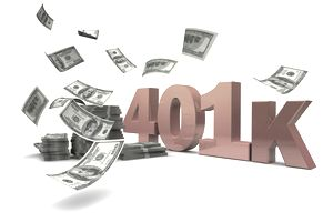 Money blowing around a 401(k) sign.