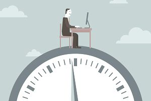 Businessman working on top of a clock