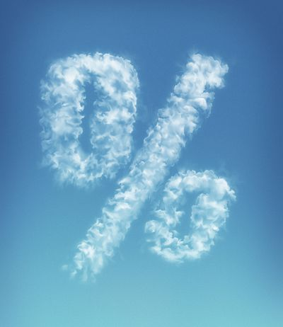 Percent symbol written in the sky, representing the yield curve.