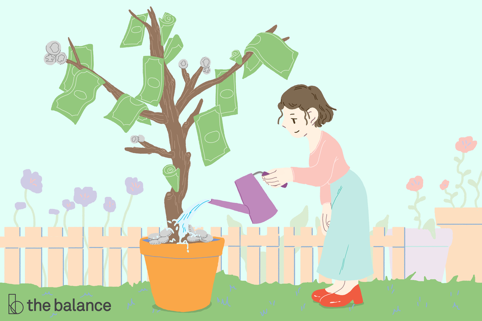 Illustration of woman watering money tree with watering can