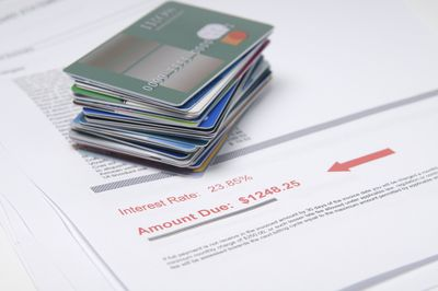 Credit cards and credit card bill with an interest rate