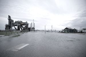 Flooding caused by Hurricane Laura on August 27, 2020 in Sabine Pass, Texas.