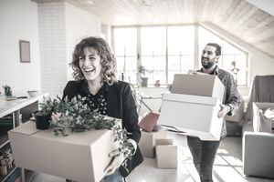 Couple moving in into new apartment